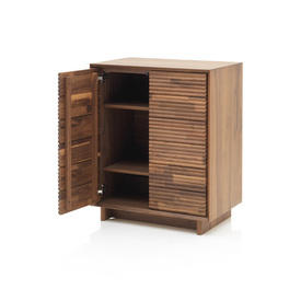 Walnut Ribbed Front 2 Door Cabinet