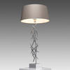 Chrome Abstract 'halsey' Twigs Table Lamp With Grey Shade