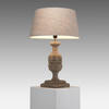 Aged Wooden Urn Table Lamp With Beige Shade