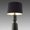 Teal Bubbled Glass ' Antero ' Table Lamp With Ink Blue Drum Shade