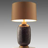 Claret Bubbled Glass ' Amelia ' Table Lamp With Gold Satin Drum Shade