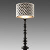 Tall Black Stepped Glass Table Lamp With Black & White Circle Pattern Shade