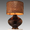 Copper Glass Table Lamp With Gold Beaded Shade