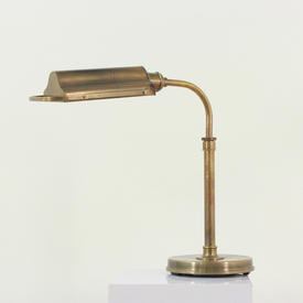 Antique Burnished Brass Industrial Desk Lamp With Trough Shape Shade