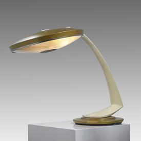 Cream & Gold Enamel Retro Saturn Desk Lamp