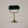 Brass & Green Glass Directors Desk Lamp