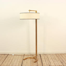 Antique Brass Hudson Floor Lamp with Angled Arm & Horse Shoe Base (Do Not Remove Fixing, Put Shade Through & Over Top)