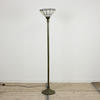 "5'5"" Brass Effect Fluted Uplighter With White Tiffany Style Shade On Decorative Base (Y)"