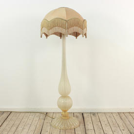 Cut Glass Murano Ribbed Bolbous Base Standard Lamp