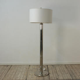 Polished Nickel Art Deco Standard Lamp with Fine Fluted Column & Finial