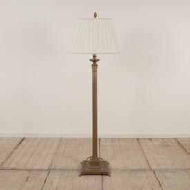 Solid Cast Ornate Plinth Standard Lamp Finished in Antique Burnished Brass, inc Finial