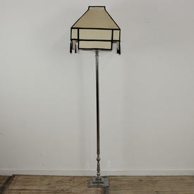 Polished Chrome Standard Lamp with Square Base