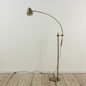 Brass Floor Standing Reading Lamp with Large Sweeping ADjustable Arm