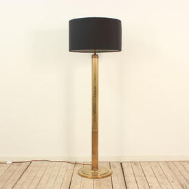 Antique Brass Fluted Column Deco Style Standard Lamp, with Harp & Bullet Finial