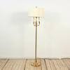 Brass Fluted Column Tri Candle Arm Standard Lamp On Circ Base, Harp & Finial. (Y)