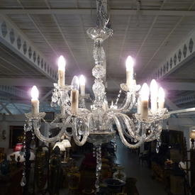 14 Light Glass Chandelier with Swan Neck Arms