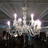 14 Light Glass Chandelier With Swan Neck Arms  (Y)
