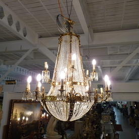 Extra Large 2-Tier Crystal & Brass 18 Light Chandelier 4' x 5' (Electrician installation ADvised, Pat Tested/No Plug)