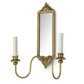 Mirror Double Wall Sconces In Antique Brass With Matching Shades.