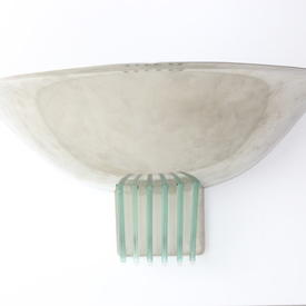 Chrome Deco Wall Uplighter with Green Glass Decoration