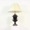 Navy Blue Ceramic & Brass Decorated Urn Shaped Table Lamp