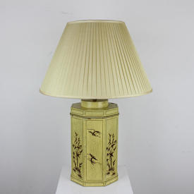 Yellow Octagonal Oriental Painted Table Lamp