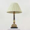 Gilt & Brown Marbleized Column Table Lamp  (Y)