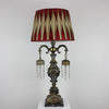 Ornate Gilt Table Lamp With Black Marble Base, Side Hangings, Crystal Droplets (Y)