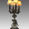 Brass And Marble 4 Light Table Lamp With Brass Figures  (Y)