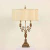 Antique Brushed Brass Ornate Table Lamps With Decorative Fin