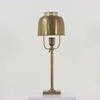 Antique Brushed Brass Table Lamp With Brass Shade & Fretted