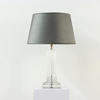 Solid Crystal Fluted Column Table Lamp, On Sq Base.