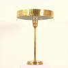 Antique Brass Table Lamp, Tall Thin Column With Brass Deep Saucer Shade.