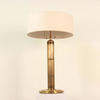 Large Antique Burnished Brass Column Table Lamp, With Finely Fluted Column, Finial & Pull Switch.