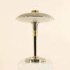 Chrome & Brass Saturn Table Lamp With White Glass Saucer Shade & Brass Inner Collar.