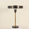 Gun Metal & Brass Column Table Lamp With Saucer Shade. (Y)
