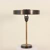 Gun Metal & Brass Column Table Lamp With Saucer Shade.