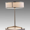 Brushed Steel Column Table Lamp With White & Steel Circ. Shade