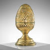38 Cm Polished, Pierced Brass, Egg Shaped Table Lamp.