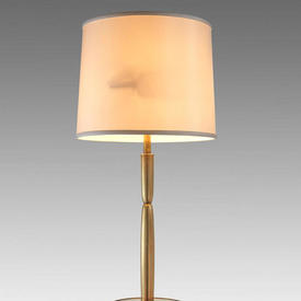 "2'9"" Antique Brass Figured Column Table Lamp On Circ. Base With Brass Finial"