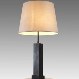 Bronze Clad, Fine Ribbed Mahogany Box Table Lamp.