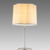 Satin Steel Finish, Pole Table Lamp On` Circ Raised Edge Base, With Harp & Finial.