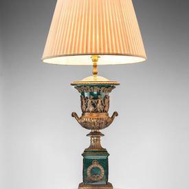 Green Ceramic & Brass Greek Decorated Urn Shaped Table Lamp on Pedestal Base