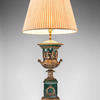 Green Ceramic & Brass Greek Decorated Urn Shaped Table Lamp On Pedestal Base