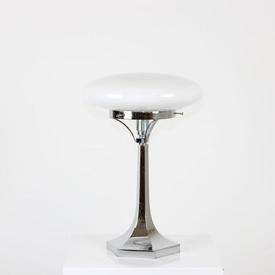 Chrome Column Table Lamp With Opaque Glass Shade