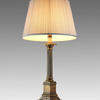 "3'1"" Antique Brass Column Table Lamp With Stepped Base + Harp & Finial"