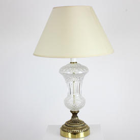 Cut Glass Urn Shape Table Lamp On Circ Brass Base