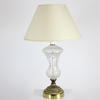 Cut Glass Urn Shape Table Lamp On Circ Brass Base  (Y)
