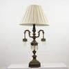 Brass Decorative Column Table Lamp, With Double Swan Neck, Hanging Fretted Lamp.