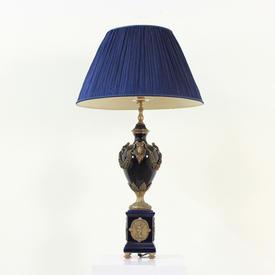 Navy Blue Ceramic & Brass Decorated Urns on Plinths Rams Head Lamp